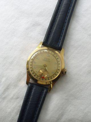 Sehr Seltene Alte Kalenderuhr Anker 21 Rubis 50er Jahre Bild