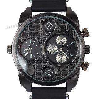 Alle Schwarz Militär Herrenuhr Analog Quarz Herren Armbanduhr 2 Zeitzonen Uhr Bild