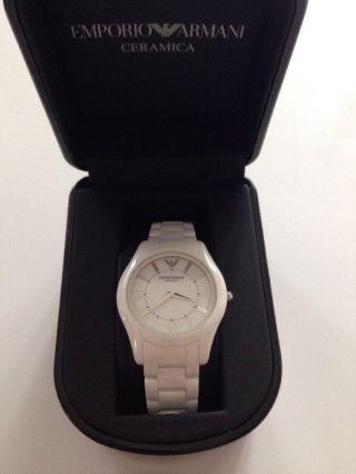 Emporio Armani Damen Uhr Weiß Ceramica Keramik Armbanduhr Ar1443 Bild