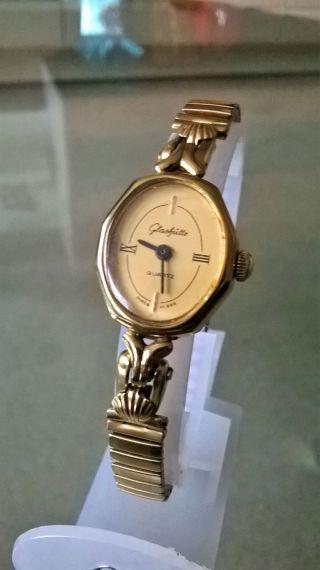 Schöne Glashütte Damen Armbanduhr Vergoldet Bild