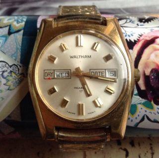 Vintage Waltham Incabloc 17 Swiss Quarz Armband Uhr Look Bild