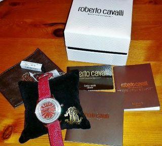 Roberto Cavalli Damen Uhr Swarovski Rochenleder Rot Silber Uvp 690€ Bild