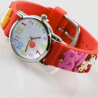 Kinder Mädchen Vive Lernuhr Armband Uhr Silikon Watch Analog Erdbeer Rot 20 Bild