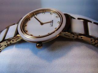 Bering Ceramic Damen Armbanduhr Weiße Keramik Vergoldet Saphirglas Swarovski Bild