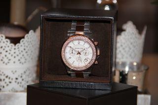 Nagelneuer Damen Michael Kors Chronograph In Rosegold Plexiglas Mk 5323 Bild