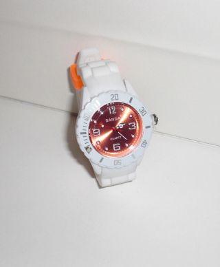 Sanda - Armbanduhr Silikon Armband Weiß Ziffernblatt Orange Bild