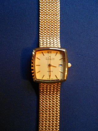 Armbanduhr Eden Switzerland Quartz Datum Vergoldet Bild