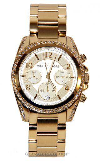 Michael Kors Mk5166 Uhr Damenuhr Armbanduhr Chronogpraph Gold Analog Quarz Bild