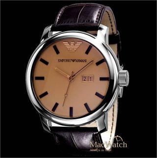Emporio Armani Herren Uhr Ar0429 Leder,  Braun,  Analog Ovp Bild