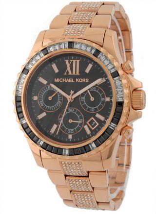 Michael Kors Uhr Mk 5875 Damenuhr Roségold / Schwarz Strass Mk5875 Bild