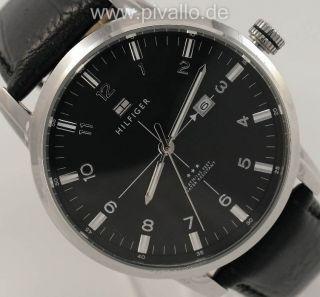 Tommy Hilfiger George Herrenuhr / Uhr Leder Schwarz Silber Datum 1710330 Bild