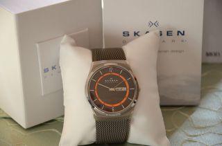 Skagen Herren 40mm Silber Titan Armband & GehÄuse Mineral Glas Datum Uhr Skw6007 Bild