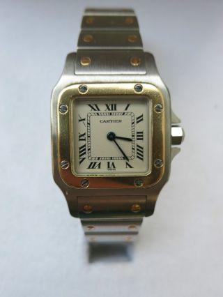100 Orig Montres Santos Cartier Damen Uhr Id 1057930 Stahl Gold Quarz Papiere Bild