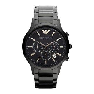 Emporio Armani Uhr Ar2453 Herren Chronograph Edelstahl Schwarz Armbanduhr Bild