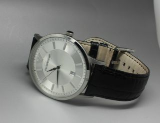 Herrenuhr Emporio Armani Ar 8015 Lederband Schwarz Orig.  Armband - Uhr Ar8015 Ref Bild