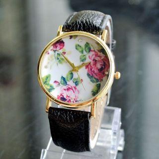 Armbanduhr Frauen Kunstleder Leder Gold Pink Rosen Blumen Flower Uhr Damen Bild