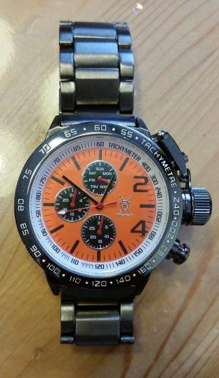 Uhr Armbanduhr Xxl Krone Königswerk U - Boot Design Anthrazit Orange Bild