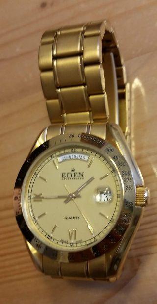 Uhr Armbanduhr Eden Switzerland 3 Atm Vergoldet Bild
