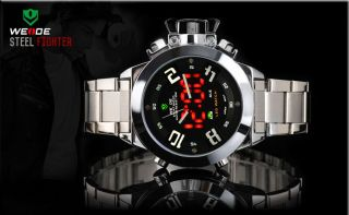 Weide Steel Analog - Digital Led Wasserdicht 30m Alarm Armbanduhr Herrenuhr Bild