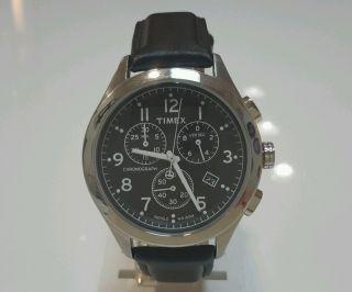 Timex Herren Armbanduhr Classic T2m467pg Schwarz Indiglo Chronograph Leder Bild