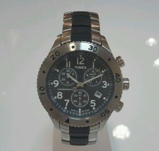 Timex Indiglo Chronograf T2m758aj Metallband Datum Wasserdicht Bild