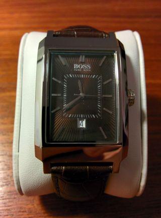 Hugo Boss Herren Uhr,  Lederarmband,  Ungetragen,  Neuwertig,  Batterie Bild