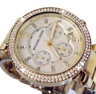 Michael Kors Chronograph Zirkonia Damenuhr Ladies Watch Parker Vergoldet Mk5354 Bild
