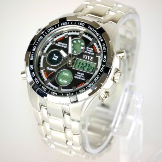 Herren Vive Armband Uhr Edelstahl Massiv Silber Watch Analog Digital Quarz Bild