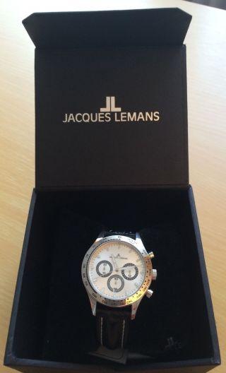 Jacques Lemans Herren - Armbanduhr Xl Capri Chronograph Leder 1 - 1329b Bild