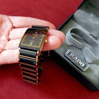 Rado Diastar Herren / Damen Uhr Keramik Mit Diamantbesatz Gold / Schwarz Bild