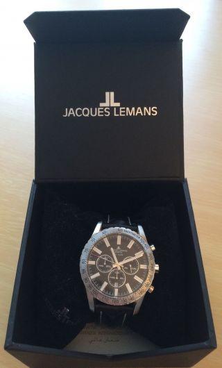 Jacques Lemans Herren - Armbanduhr Chronograph Leder 1 - 1641a Bild
