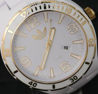 Adidas Melbourne Herrenuhr / Herren Kunststoff Uhr Weiß Gold Datum Adh2687 Bild