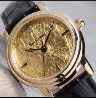 Yves Camani Damenuhr Vergoldet 999.  9 Blattgold Schwarzes Weihnachtsgeschenk Bild