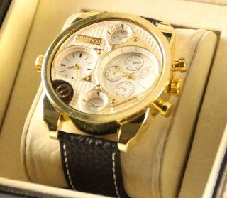 Animoo Xxxl Dual Worldtime Armbanduhr Modische Leder Herrenuhr Bild