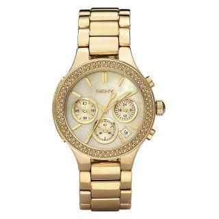 Edel Dkny Ny 8058 Damen Armbanduhr Uhr Damenuhr Chronograph Gold Perlmutt Donna Bild
