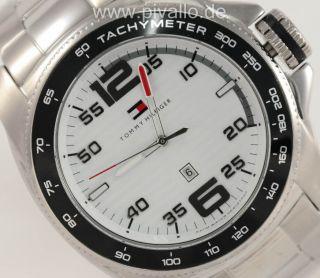 Tommy Hilfiger Herrenuhr / Uhr Tachymeter Datum Silber Schwarz Xxl 1790856 Bild