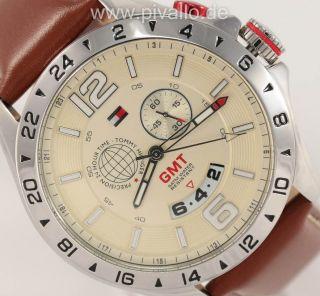 Tommy Hilfiger Baron Herrenuhr / Herren Uhr Leder Gmt Datum Braun 1790973 Bild