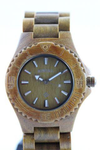Bewell Holzuhr,  Damenuhr,  Herrenuhr,  Braune Sandelholz Armbanduhr,  Top Geschenk Bild