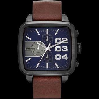 Diesel Double Down Sqaure Herren 48mm Chronograph Braun Leder Armband Uhr Dz4302 Bild