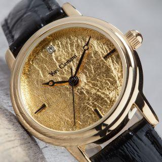 Yves Camani Gironde Damenuhr Vergoldet 999.  9 Blattgold Schwarzes Lederband Bild