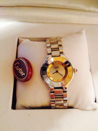 Cartier Must 21 Mit Innenliegender Minutenanzeige Damen Armbanduhr Orig.  Box Bild