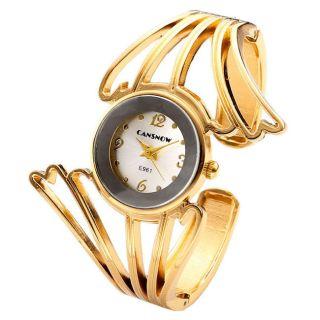 Damenuhr Armspange Armband Uhr Quarzuhr Legierung Elegant Armreifuhr Goldfarbe Bild