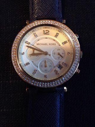Michael Kors Damenuhr Armbanduhr Uhr Leder Blau Neuwertig Bild