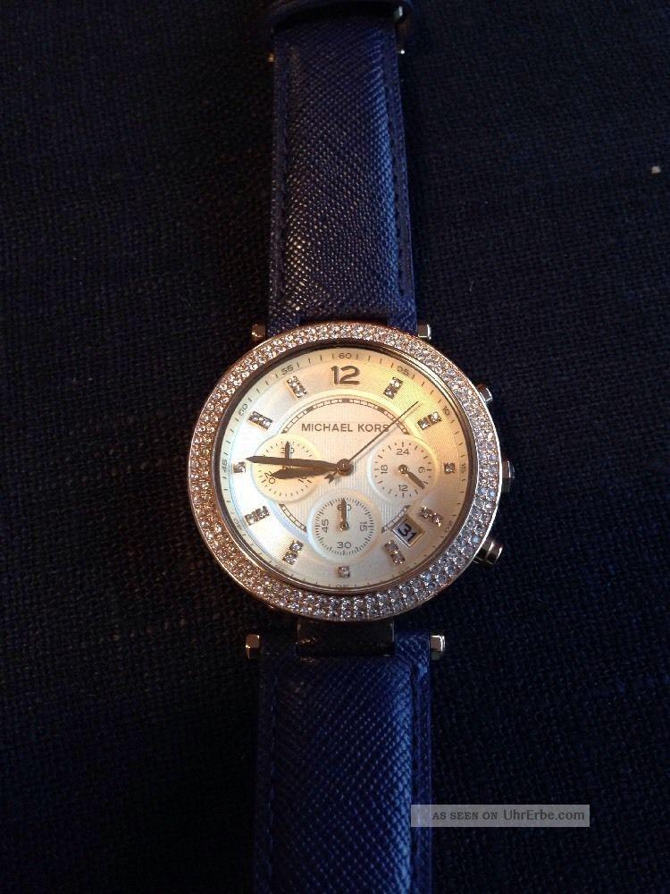 michael kors damenuhr armbanduhr uhr leder blau neuwertig. Black Bedroom Furniture Sets. Home Design Ideas