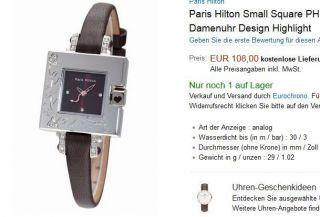 Neuwertig Paris Hilton Small Square Np 108€ Damenuhr Swarovski Schwarz Gold Bild