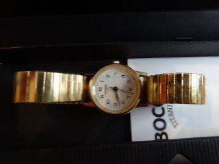 Boccia Damen Uhr Flexibeles Armband Vergoldet Einwandfrei Geschenkbox Bild