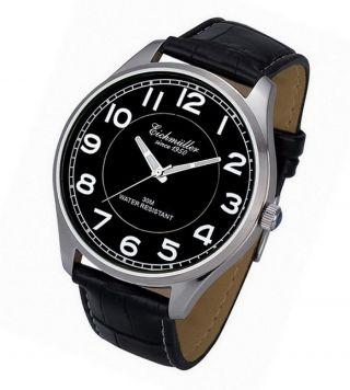 Große 45 Mm Xl EichmÜller Uhr Herrenuhr Edelstahl Leder Armbanduhr Schwarz Bild