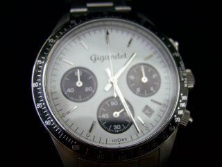 Gigandet Race King Panda Herrenuhr Chronograph Datum Edelstahl Weiß Schwarz Bild
