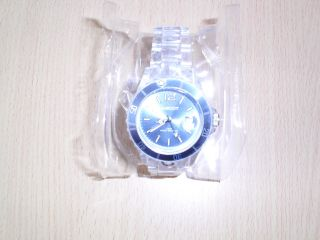 Ascot Armbanduhr Farbe Transparent Blaues Zifferblatt Bild