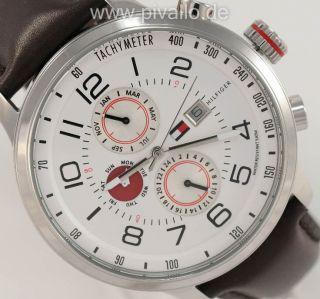 Tommy Hilfiger Herrenuhr / Uhr Leder Braun Weiß Tag Wochentag Monat 1790858 Bild